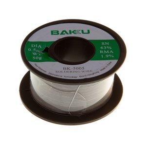 Припой BAKU BK-5005, sn 63%, pb 35,1%, 50 г, 0,5 мм, флюс 1,9%